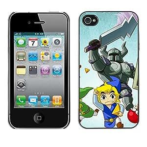 A-type Arte & diseño plástico duro Fundas Cover Cubre Hard Case Cover para iPhone 4 / 4S (Cartoon Guerrero)