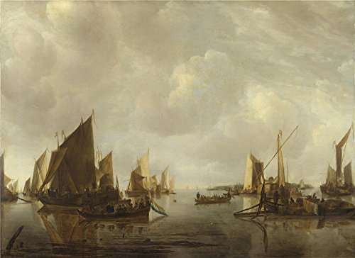 [The High Quality Polyster Canvas Of Oil Painting 'Jan Van De Cappelle A River Scene With Dutch Vessels Becalmed ' ,size: 16 X 22 Inch / 41 X 56 Cm ,this High Quality Art Decorative Canvas Prints Is Fit For Powder Room Decor And Home Artwork And] (Tin Man Aluminum Foil Costume)