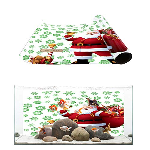 Aquarium Background North Pole Santa Claus and Snowflake Fish Tank Wallpaper Easy to Apply and Remove PVC Sticker Pictures Poster Background Decoration 20.4
