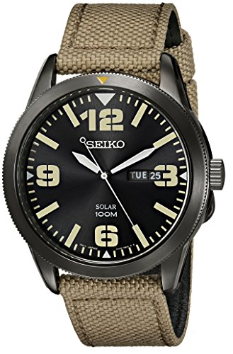 (Seiko Men's SNE331 Sport Solar Black Stainless Steel Watch with Beige Nylon Band)
