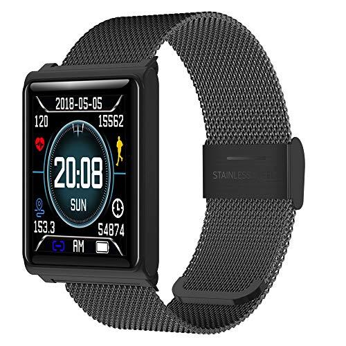 NXDA N98 Color Screen Milanese Magnetic Loop Square dial Heart Rate Activity Step Counter Calorie Mileage Record Smart Bracelet Smart Watch Fitness Tracker for iOS Android Smartphones (Black)