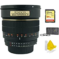 Rokinon 85mm f/1.4 Aspherical Lens for Nikon DSLR Cameras w/Automatic Chip (85MAF-N) with Sandisk 64GB SDXC Memory Card, Xit 72mm UV, Polarizer & FLD Deluxe Filter kit & 3 Pcs Cleaning Kit