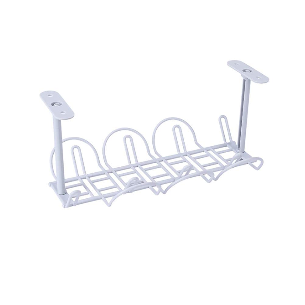 1PCS ABS Cable Rack Self Adhesive Holder Socket Storage Strong with Hanging Basket Table Bottom Shelf Management Kitchen Tidy White