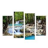 Acamifashion 4 Pcs Scenery Paintings Waterfall Stream Tree Wall Art Home Decor