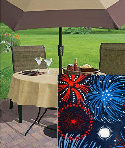 Newbridge Fireworks Celebration Vinyl Flannel Backed Tablecloth - Americana Patriotic Red, White and Blue Fireworks Indoor/Outdoor Party Tablecloth - 70