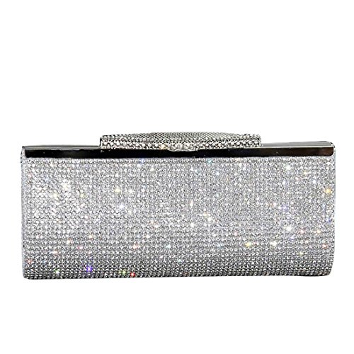 EROGE Evening Party Clutch Handbag Bling Shiny Rhinestone Wedding Purse (Silver)