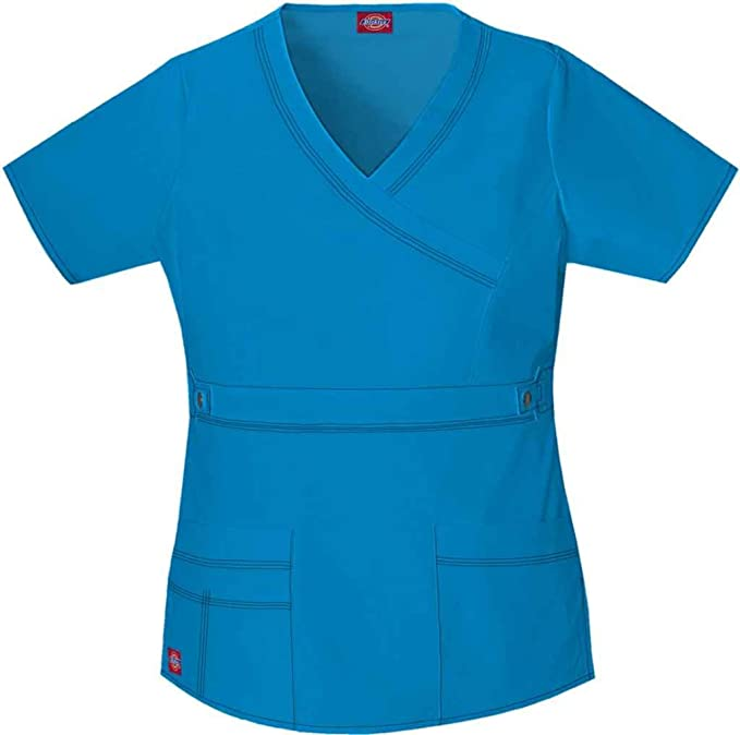 4e052d65cff Dickies 817355 Women's Jr Fit Youtility Mock Wrap Top Riviera Blue X-Small