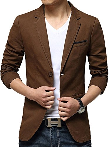 Men Classic Notched Lapel Blazer Brown US M/Label 2XL 318
