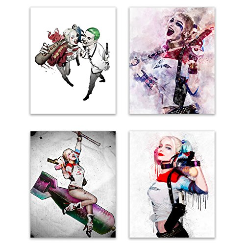 Harley Quinn - Suicide Squad Movie Pop Art Deluxe Poster Collection - Margot Robbie as the DC Comic Book Icon and Girlfriend of the Joker in this Art Print Series - Set of 4 8x10 Photos