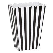 Small Black & White Striped Popcorn Treat Boxes, 8ct