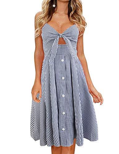 - FANCYINN Womens Plaid Print Tie Front Button Down Spaghetti Strap Midi Dress Blue Plaid M