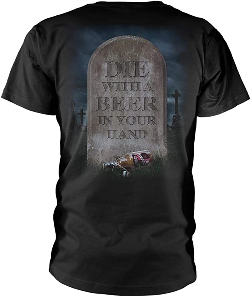 T-Shirt NEW /& OFFICIAL! Tankard /'Die With A Beer/' Black