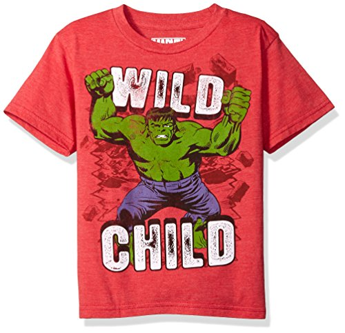 Marvel Little Boys' The Incredible Hulk T-Shirt, Red Heather, 5/6