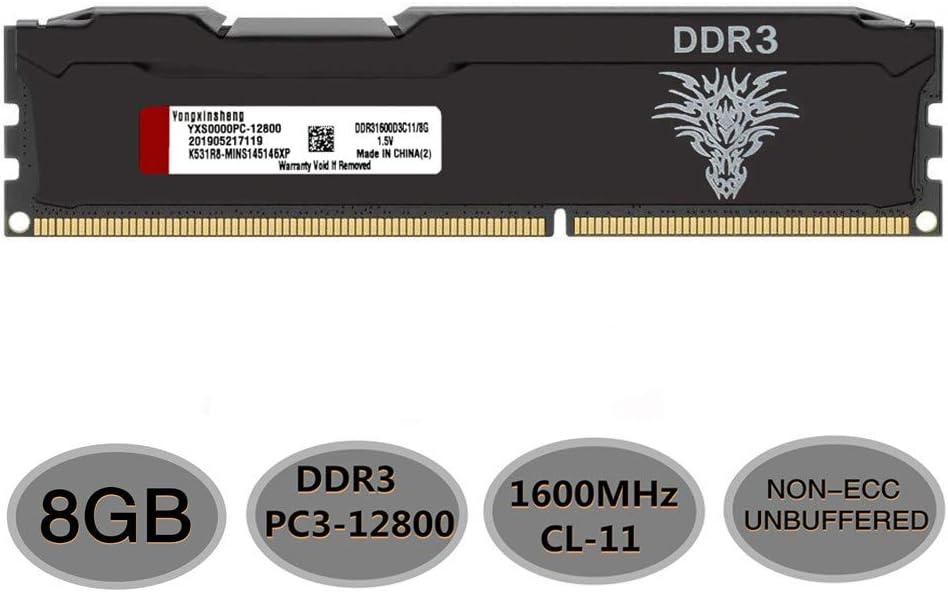 Yongxinsheng DDR3 8GB 1600MHz UDIMM RAM (PC3-12800) CL11 240Pin 1.5V Non-ECC Unbuffered for Desktop Memory Stick