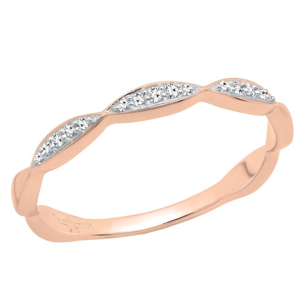 Dazzlingrock Collection 0.05 Carat (ctw) 10K Gold Round Diamond Ladies Anniversary Wedding Stackable Band K5571-P