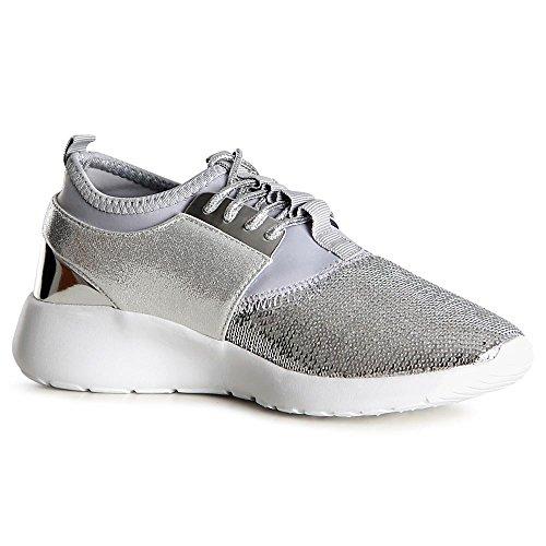 Sparkle Argent Sneaker Sport Topschuhe24 De Femmes Chaussures BOAZxHXq