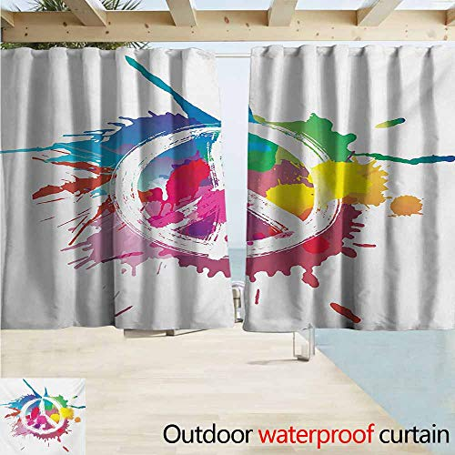 AndyTours Rod Pocket Curtains,Groovy Famous Widely Used Peace Logo with Colorful Splash Grunge Style Pacifism Themed,Energy Efficient, Darkening,W55x39L Inches,Multicolor