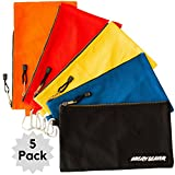 Canvas Tool Pouch with Zipper, 5 Pack, Utility Organization Bags, Heavy Duty Metal Zipper and Carabiner, by Angry Beaver, Black, Yellow, Red, Blue and Orange