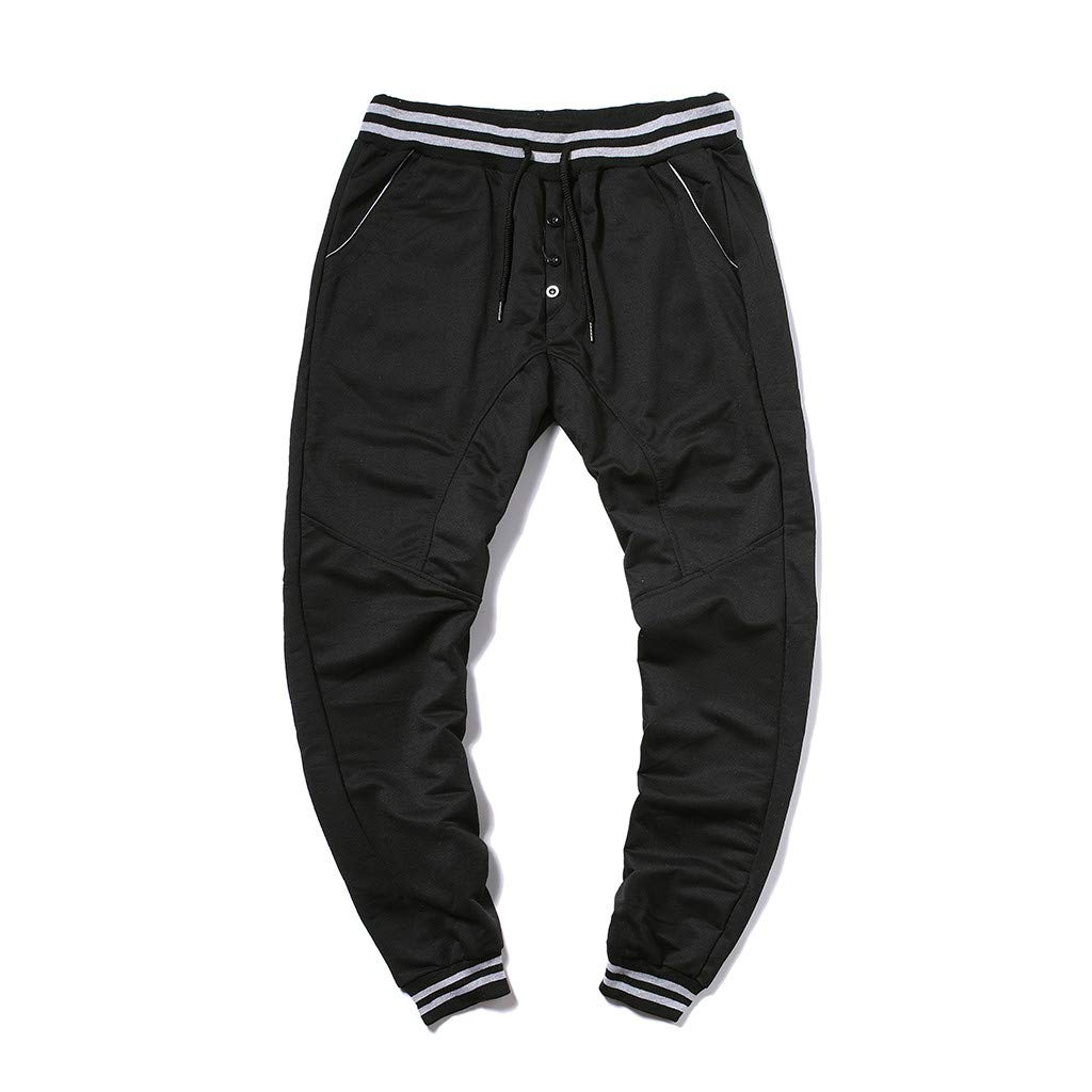 WENSY Fashion Mens Elastic Belt Elastic Elastic Band Rope Pants Elastic Foot Button Casual Sports Pants Trousers