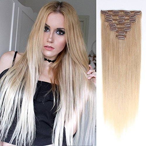 Beauty : AmazingBeauty 8A Grade Ombre Remy Human Real Hair Clip in Extensions Sombre(Subtle and Soft Ombre) M8/60/60 Honey Brown Fading into Platinum Ash Blonde 18 Inch 130 Gram 7 Pieces Full Head Double Weft