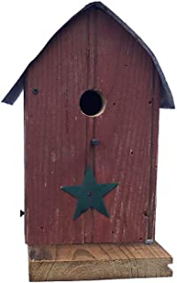 product image for Barn Wood Round Roof Wren Bird House w/Wire Hanger & Clean Out - Green Roof with Green Star