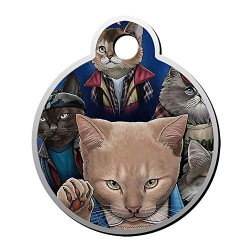 Reiligh Pet ID Tag Stranger Cats Personalized Round for sale  Delivered anywhere in USA