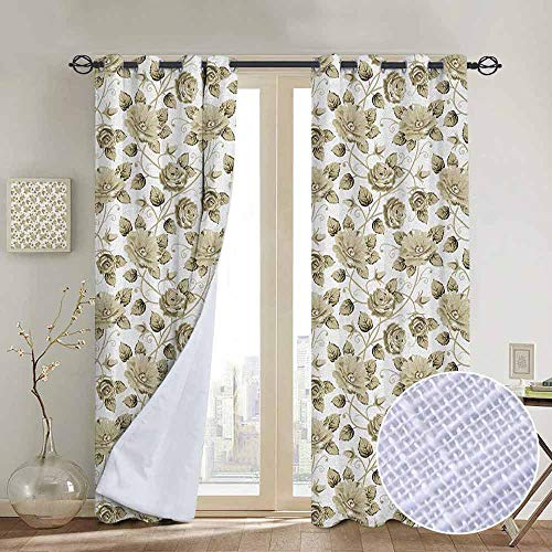 Blackout Curtains Victorian,Retro Floral Pattern with Soft Colors Boho Neoclassic Flower Motifs Art Print, Beige White,Thermal Insulated Panels Home Décor Window Draperies for Bedroom a54