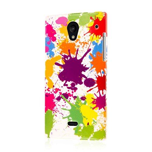 Sharp Aquos Crystal Case, MPERO SNAPZ Series Glossy Case for Sharp Aquos Crystal 306SH - White Paint Splatter -