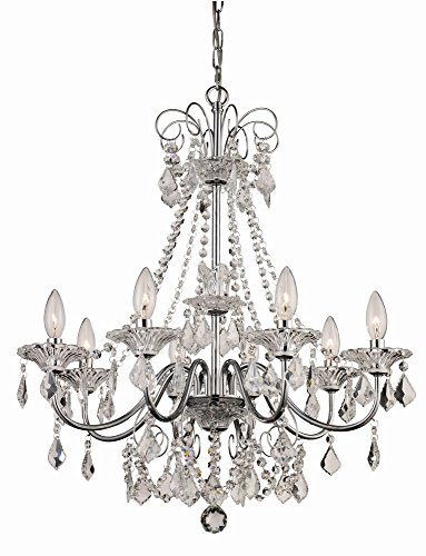 Lighting Classic Cascade (Trans Globe Lighting JH-8 PC Niagara Indoor Polished Chrome French Country Chandelier, 24