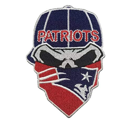 - New England Patriots Iron On Skull with Bandana Patch 2.55 x 3.65 inches