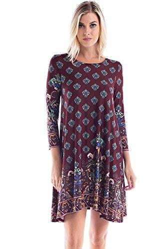 Allora Women's Plus Size 3/4 Sleeve Soft Knit Tunic Dress (1X, Burgundy/Aqua (Beaded Knit Tunic)
