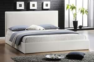 Camas de cuero cama para futón blanco 200x200cm kingsize cama de matrimonio con somier