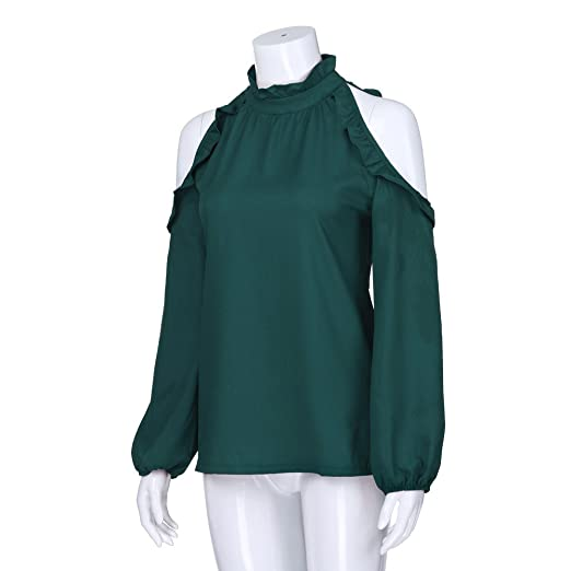 Amazon.com : Clearance!Youngh Womens Blouses Plus Size strapless Solid Ruffles Loose Long Sleeve Ruffled Collar Casual Blouse T Shirt Tops : Grocery ...