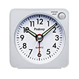 Peakeep Ultra Small, Battery Travel Alarm Clock with Snooze and Light, Silent with No Ticking Analog Quartz (White)