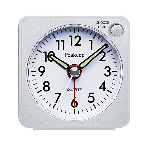 Brighton Clock - Peakeep Ultra Small, Battery Travel Alarm Clock with Snooze and Light, Silent with No Ticking Analog Quartz (White)