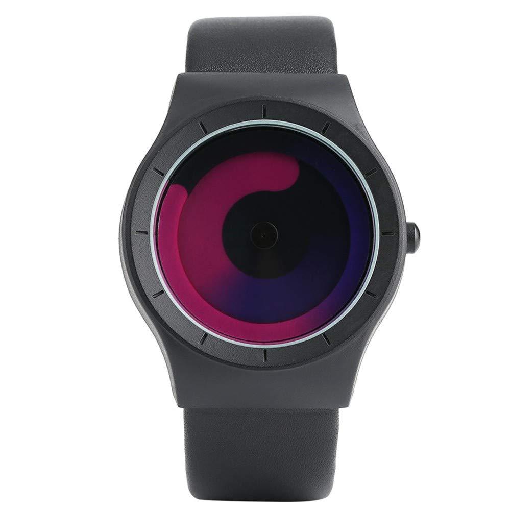 GBVFCDRT Concepto Reloj Estilo Minimalista Color frío Espiral Giradiscos Novela Elegante Reloj de Pulsera Friki Aficionados Regalo Hombre Reloj Femenino, ...