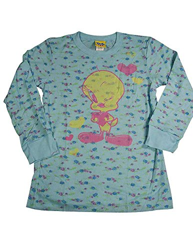 - Junk Food - Big Girls' Long Sleeve Floral Thermal with Tweety Bird Tee Shirt, Light Blue, Multi 11147-14