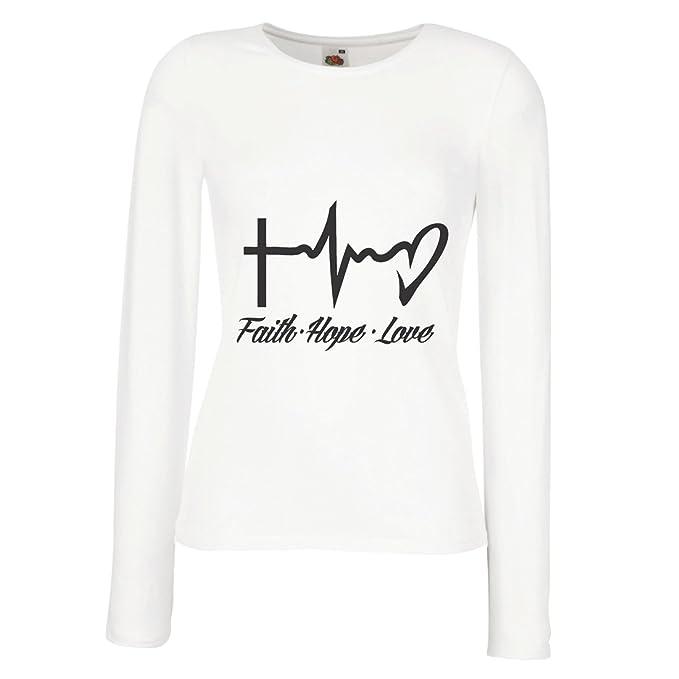 lepni.me Camisetas de Manga Larga Para Mujer Fe - Esperanza - Amor - 1 Corintios 13:13, Citas cristianas y proverbios, Refranes religiosos: Amazon.es: Ropa ...