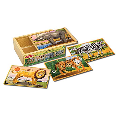 Lion Wooden Puzzle - Melissa & Doug Wild Animals 4-in-1 Wooden Jigsaw Puzzles in a Storage Box (48 pcs)