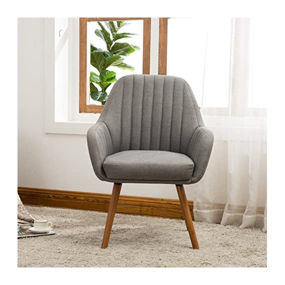 Roundhill Furniture Tuchico Contemporary Fabric Accent Chair, Gray - Frame constructions have been rigorously tested to simulate the home and transportation environments for improved durability. Solid wood frame legs come in a light brown finish. Corners are glued, blocked and stapled. High-quality plush high-density foam cushioning is upholstered in gray color. Deep tuck-pleating design and extra thick padding is supremely comfortable. - living-room-furniture, living-room, accent-chairs - 51gkpje5B8L. SS570  -