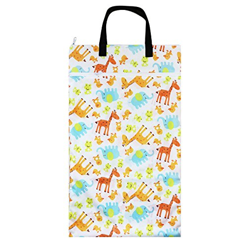 Nicole Area Reusable Large Hanging Wet And Dry Cloth Diapers Bag for Diapers or Laundry Multipurpose Storage Organizer Bag (Giraffe & Duck)