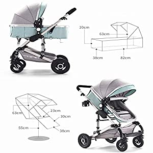 MOIMK 3 In 1 Pushchair Stroller Combi Stroller Buggy Baby Jogger Travel Buggy Kid's Stroller, Red