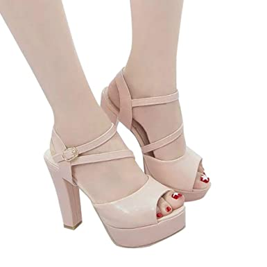 fac01ac2dd89 Amazon.com  Women Solid Peep Toe Hollow Out Thin Heels Sandals High Heeled  Shoes Dark  Clothing