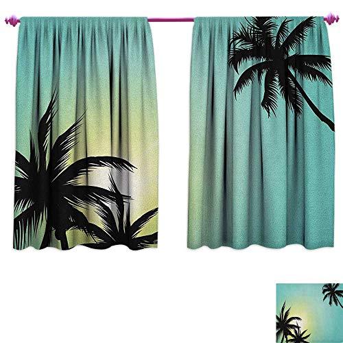 homefeel Modern Window Curtain Drape Hawaiian Miami Beach Island Palm Trees with Sun Like Clear Skies Art Print Image Blackout Draperies for Bedroom W55 x L39 Seafoam Black ()
