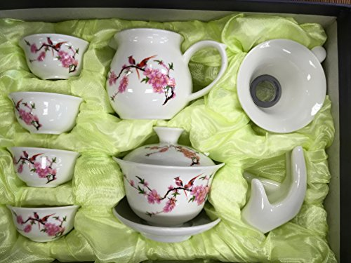 Music City Tea Gaiwan Tea Set Beautiful Set with Happy Bird And Cherry Blooming with Gift Box (Music City Gifts)