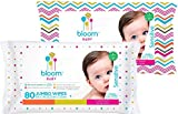 bloom BABY Sensitive Skin Unscented Hypoallergenic Baby Wipes, 80-Count