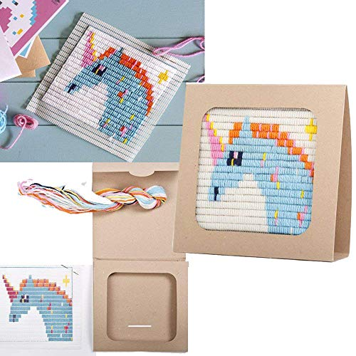 "Sozo - Colorful DIY Needlepoint Embroidery Craft Kit for Beginners. Eco Friendly Package That Turns into a Display Frame, Easier Than Cross Stitch. Size - 8"" x 8"" (Unicorn)"