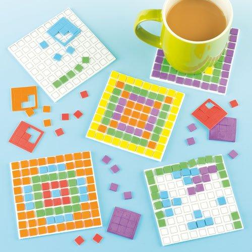 Mosaic Foam Coaster Kits, Self-Adhesive Foam Squares, Kid's Craft Activities(Pack of 6) (Mosaic Foam)