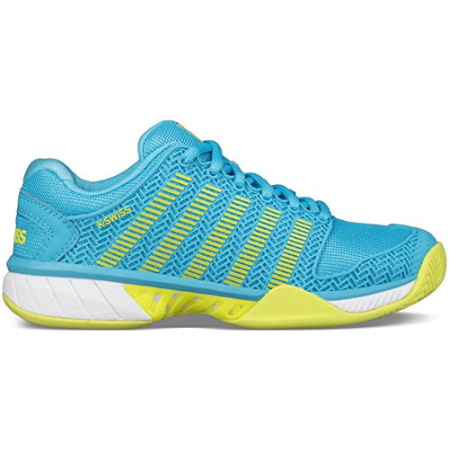 K-Swiss Women's Hypercourt Express Tennis Shoe-9.5 B(M) US-Aquarius/White/NEON Citron