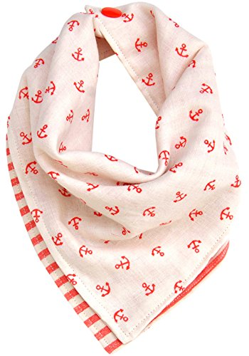 kishu baby Coral Nautical Bandana Drool Bib for Boys or Girls, Made In Usa From Premium Japanese Cotton Muslin, Adjustable With Snaps, Peach, One Size